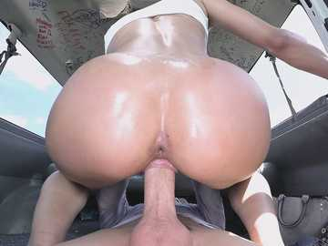 Lonely girl is picked up in the street and fucked in cowgirl position in the van