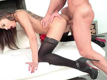 Perfect skinny brunette Cassie gets her doggy style pussy fucking on cam