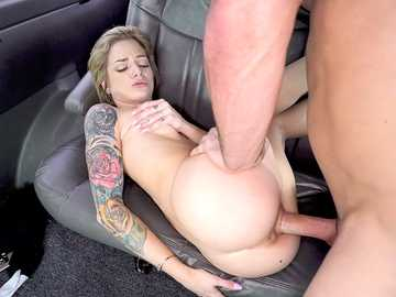 Happy guy Steve drills pink pussy of magnificent Roxy Ryder in the moving van
