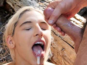 Two horny men gladly share naughty blonde Abella Danger in the fresh air