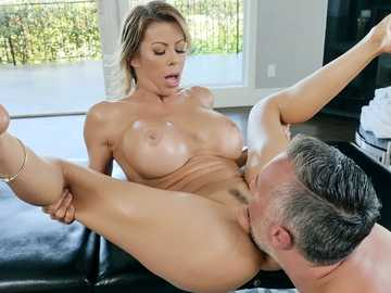 Remarkable Alexis Fawx seduces her handsome masseur for some fun on the table