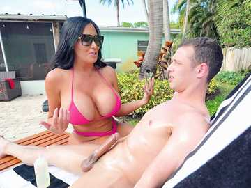 Lustful stepmom Sybil Stallone with huge boobs lures her son on dirty sex