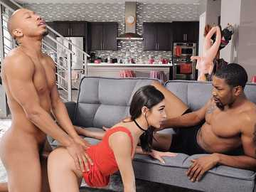 Two big black cocks make naughty white babe Emily Willis satisfied