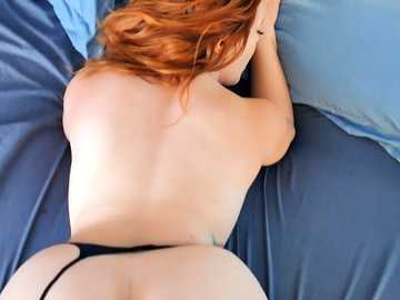 Curvy red-haired hottie Summer Hart pulls panties aside to take massive dick