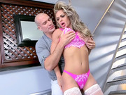 Big-breasted female with puffy lips Nina Dolci flirts with bald lad