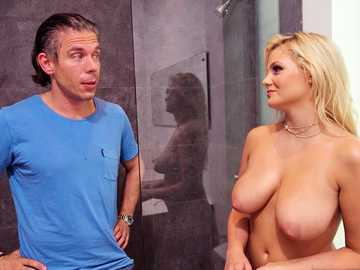 Horny girl next door Katy Jayne takes her chance on big cock of a neighbor