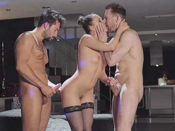Hungarian babe Blue Angel gets in hands of two passionate men at erotic party