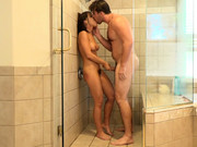 Adriana Chechik takes big cock of Manuel Ferrara standing in the shower