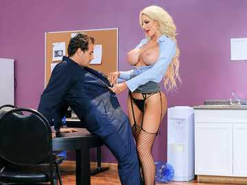 Incredible pornstar Nicolette Shea seduces teen boy for sex in the office