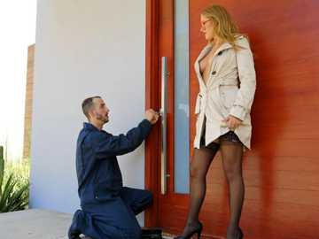 Tricky blonde Kandace Kayne fucks another guy instead of her boyfriend