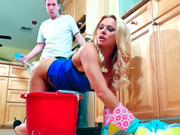 Well-packed dude is seduced by thick ass blonde Briana Banks