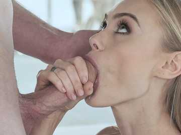 Sweet Ukrainian lassie Nancy Ace enthusiastically worships dick of her boyfriend