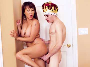 Tiffany Rain lets MILF friend's son pound her shaved pussy ballerina style