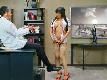 Well-rounded Latina Gia Milana in nurse uniform from big box sucks doctor's dick
