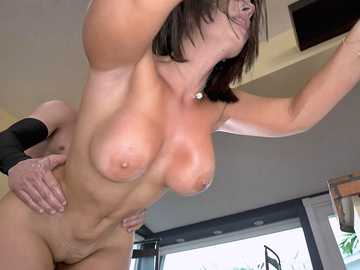 Chesty Latina with oiled up booty La Sirena 69 gags on the cock after pussyfuck