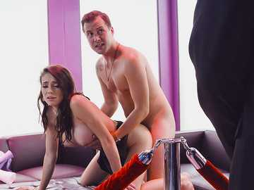 Ashly Anderson is busty and passionate, pussy fucking clients before boss