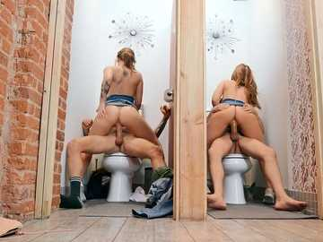 Sisters Joey White and Sami White spend double date riding cocks in the toilet