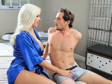 Blonde diva Nina Elle is hungry for sex so why makes love to her new stepson