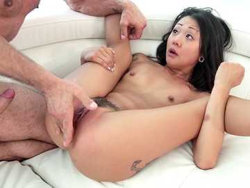 Saya Song is a skinny Asian girl who gets squirting orgasm from Toni Ribas