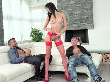 Gorgeous brunette Francys Belle yields her body to two really horny men