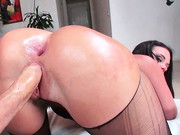 Legendary anal professional Roxy Raye is all dolled up in sheer lingerie, metal-studded bra ...