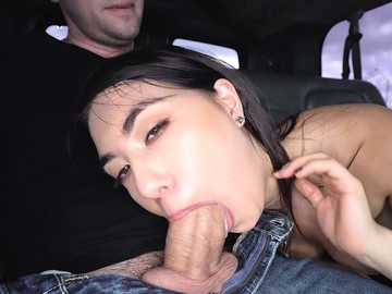 Cute Korean babe Mina Moon impresses the guy with her blowjob skills in the bus